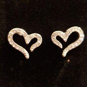 New Silver Crystal Heart Earrings